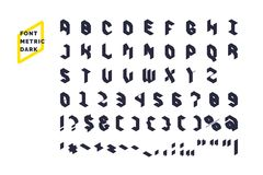 Modern technical display font Metric. Set all letters and numbers with characters. Stock Image