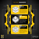 Modern techno layout with three banners and decorative elements. Stock Images