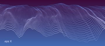 Wavy dotted cascade. Modern technological abstract vector illustration. Wavy dotted cascade. Contemporary digital background. Dynamic futuristic complex shape Royalty Free Stock Images