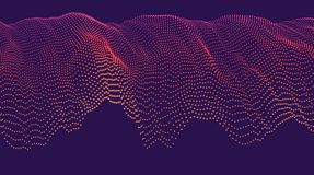 Wavy dotted cascade. Modern technological abstract vector illustration. Wavy dotted cascade. Contemporary digital background. Dynamic futuristic complex shape Stock Photos