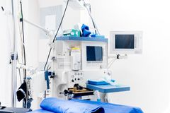 Modern technological equipment in surgery room. Details of medical lifecare support equipment Royalty Free Stock Photos