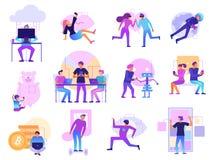 Modern Technologies Cartoon Set vector illustration