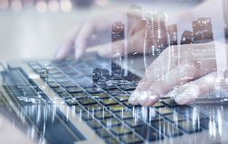 Modern technologies, double exposure, work online Stock Image
