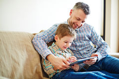 Modern technologies in family life Stock Images