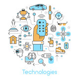 Modern Technologies Line Art Thin Icons Set with Smart House and Quadrocopter. Modern Technologies Line Art Thin Vector Icons Set with Smart House and Royalty Free Stock Image