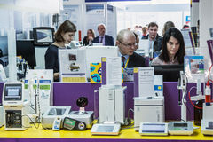 Modern technologies in medical equipment. Moscow, Russia - April 11, 2017: 15th International Exhibition of Laboratory Equipment and Chemical Reagents Analytics Royalty Free Stock Images