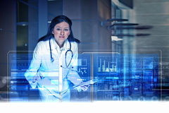 Modern technologies in medicine. Medicine doctor working with modern computer interface Stock Photography