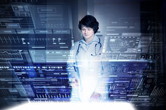 Modern technologies in medicine. Medicine doctor working with modern computer interface Royalty Free Stock Images