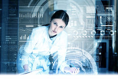Modern technologies in medicine. Medicine doctor working with modern computer interface Stock Images