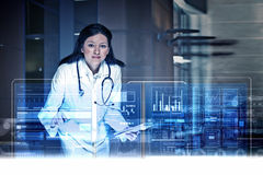 Modern technologies in medicine. Medicine doctor working with modern computer interface Royalty Free Stock Photography