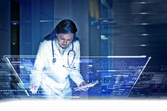 Modern technologies in medicine. Medicine doctor working with modern computer interface Royalty Free Stock Image