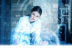 Modern technologies in medicine. Medicine doctor working with modern computer interface Stock Photo