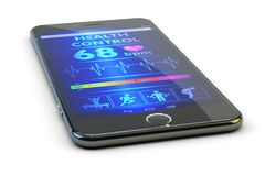 Modern technologies in medicine, mobile pulse tracker. Smartphone with health monitoring and heartbeat diagnosis app, on white background Stock Image