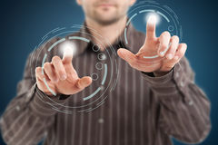 Modern technology. Business people in virtual space, modern technology Royalty Free Stock Photos