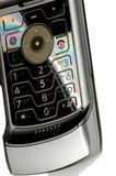 Modern technology. Silver cell phone Royalty Free Stock Photo