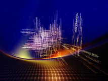 Modern Technology Abstract. Interplay of three dimensional symbols on the subject of modern technologies Stock Photo