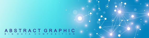 Modern technology banner. Geometric abstract presentation. Communication background. Lines plexus and dots. Cybernetic stock illustration