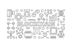 Modern technology banner made with block chain icons. Modern technology banner made with block chain line icons and word BLOCKCHAIN inside Royalty Free Stock Image