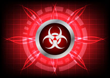 Modern technology biohazard  button and light effect on red back Stock Photos