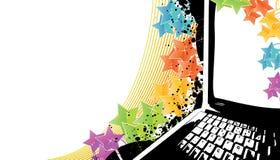 Modern technology celebration background. Vector illustration of a stylish technology celebration background with rainbow stars and notebook laptop trace. On royalty free illustration