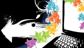 Modern technology celebration background on black. Vector illustration of a stylish technology celebration background with rainbow stars and notebook laptop Stock Images