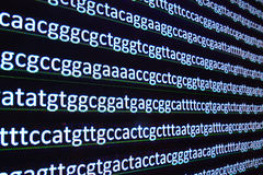 Modern technology: DNA sequencing. The letter symbols sequence of nucleotide bases in nucleic acids Royalty Free Stock Photos