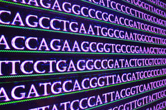 Modern technology: DNA sequencing. The letter symbols sequence of nucleotide bases in nucleic acids Stock Photo