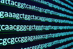 Modern technology: DNA sequencing. The letter symbols sequence of nucleotide bases in nucleic acids Stock Image