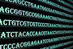 Modern technology: DNA sequencing. The letter symbols sequence of nucleotide bases in nucleic acids Stock Photography