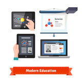 Modern technology in education flat icon set. Online and virtual learning experiences. EPS 10 vector Royalty Free Stock Photos
