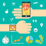 Modern technology equipment for monitoring the health. Smartphone, smartwatch. Blue background. Set of colored flat icons royalty free illustration