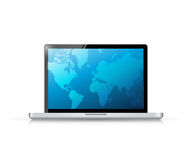 Modern technology laptop with a business Royalty Free Stock Photos