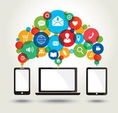 Modern technology and media icons. Royalty Free Stock Images