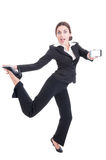 Modern technology sales woman acting excited, enthusiastic, chee Stock Photography