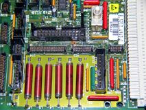 Close up of a used circuit board. Modern technology, switching circuits, modern times, modern waste, used up, computer boards stock images