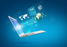 Modern technology thin laptop with screen and graph Stock Photo