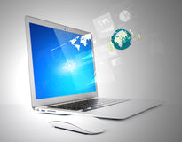 Modern technology thin laptop Royalty Free Stock Photos