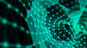 Modern technology triangle neurone design green technology network connection art background. Neurone Technology art background wallpaper Stock Photo