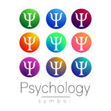 Modern teckenuppsättning av psykologi Idérik stil Symbol i vektor Ljus färgbokstav på vit bakgrund Symbol för rengöringsduk Royaltyfria Foton