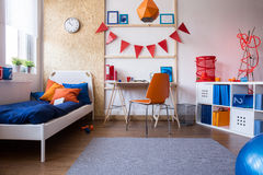Modern teen boy bedroom. Horizontal view of modern teen boy bedroom Royalty Free Stock Image