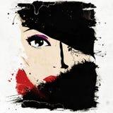 Modern teenage girl on grunge background. Royalty Free Stock Image