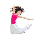 Modern  teenage girl jumping dancing Stock Image