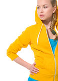 Modern teenager girl in sweater with draped hood Stock Photography