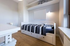 Modern teenager room in maritime style. In white finishing Stock Photos