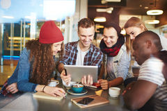 Modern teens in cafe Stock Photo