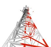 The telecommunication tower. Modern telecommunication tower. 3d rendering with Clipping Path Royalty Free Stock Image