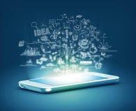 Modern telefoon bedrijfsconcept Stock Foto's