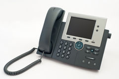 Modern telephone on white Stock Photo