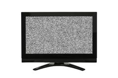 Modern Television Isolated on White with Static Screen.  stock image