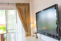Modern television in living room Royalty Free Stock Images